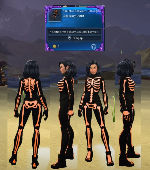 Skeletal Bodysuit (Orange)